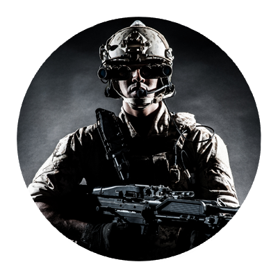soldier hold a gun protecting information